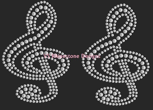 Trebel Clef Sequin Heat Transfer Set of 2