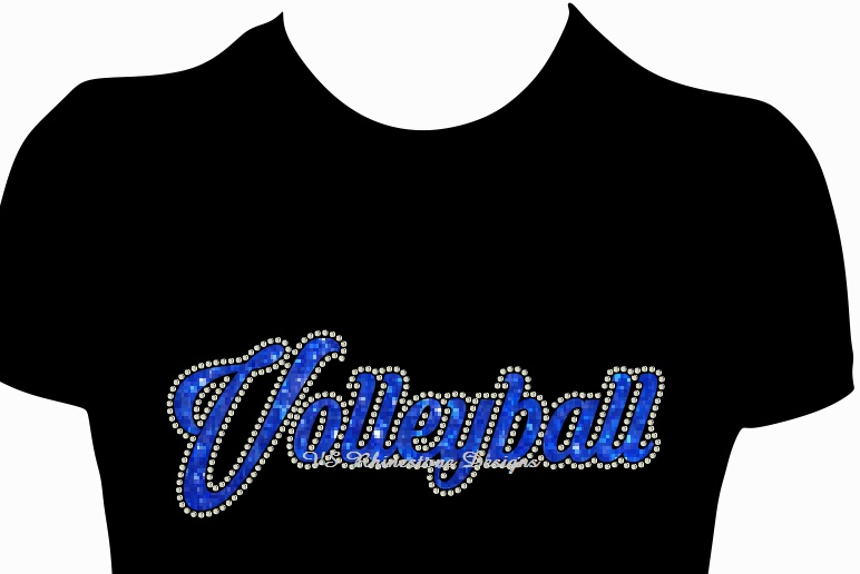 Volleyball Cursive Vinyl and Rhinestone Transfer