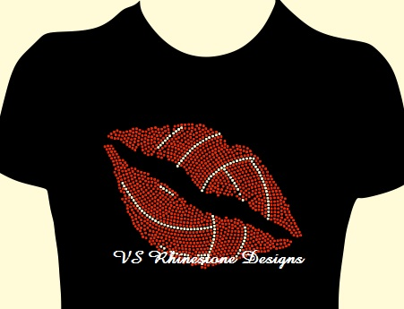 Volleyball Lips Rhinestone Transfer