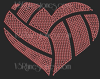 Volleyball Heart Sequin Transfer