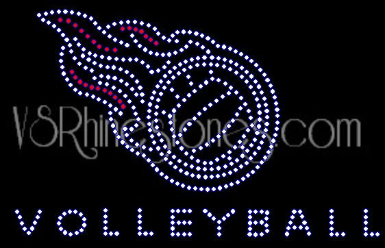 Volleyball Flames Small Rhinestone Transfer