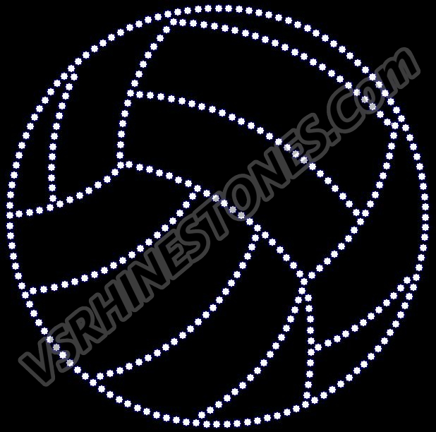 Volleyball Large - 6 inch Rhinestone Transfer