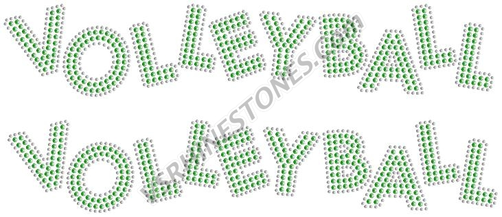 VOLLEYBALL SEQUIN WORD (2 per order) Green