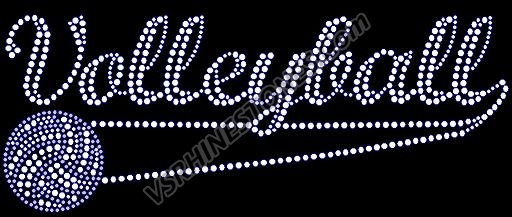 Volleyball Swosh Rhinestone Transfer