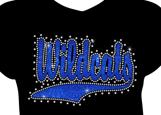 Wildcats Swoosh Vinyl and Rhinestone Transfer