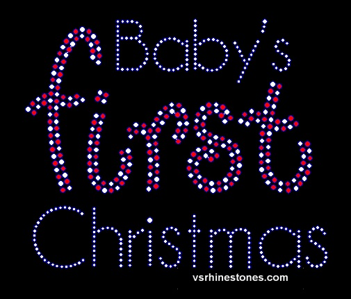 Baby's First Christmas Rhinestone Transfer