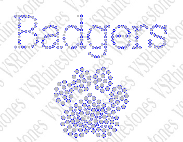 Badgers Rhinestone Transfer Paw Small