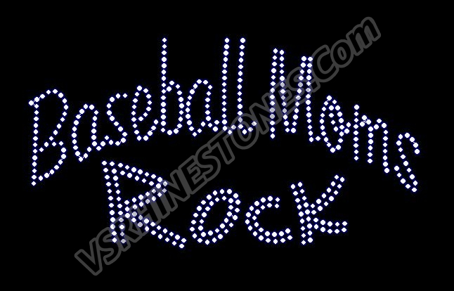 Baseball Moms Rock Rhinestone Transfer