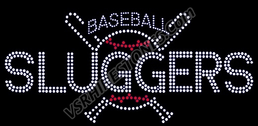 Personalized Baseball & Bats Car Rhinestone Decal
