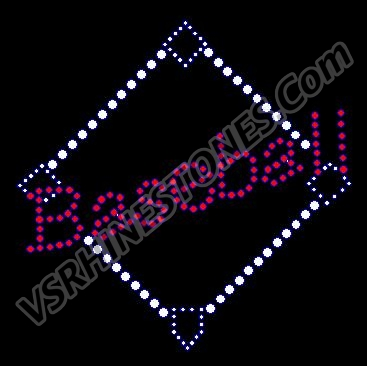 Baseball Diamond Rhinestone Transfer - Royal