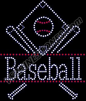 Baseball Drop Rhinestone Transfer