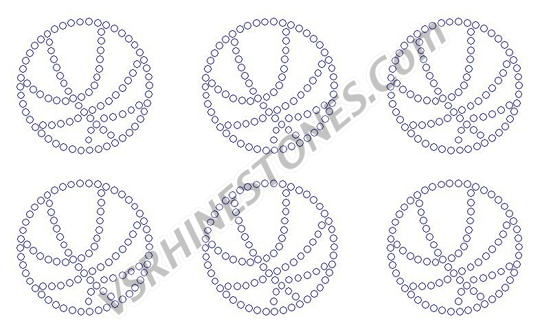 Basketball Outline Mini Rhinestone Transfer (6)