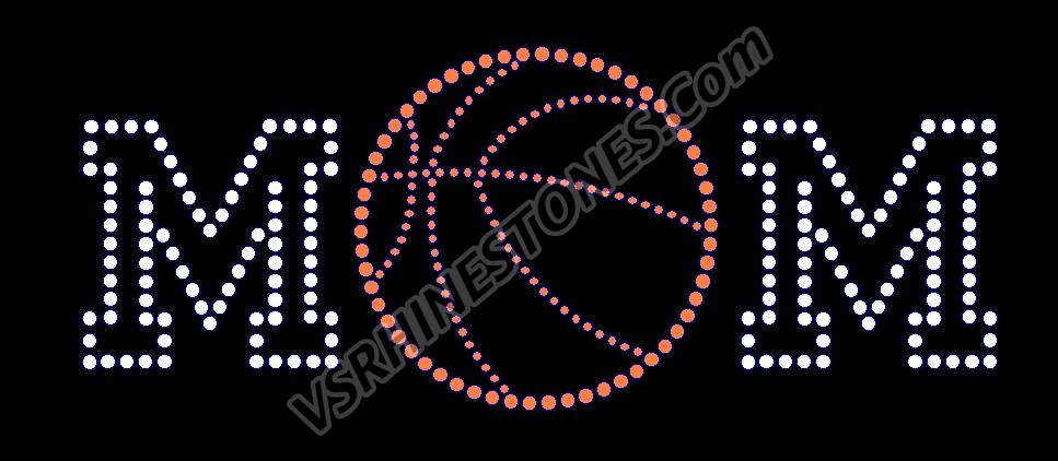 Basketball Mom Short - Orange Ball Rhinestone Transfer