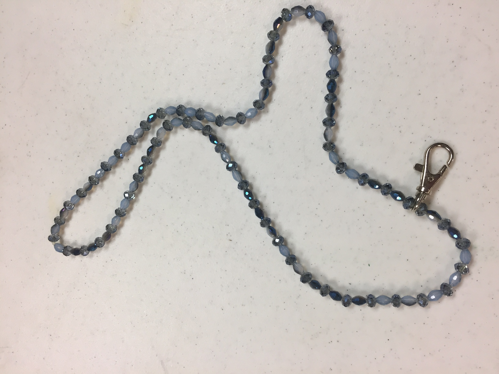 Beaded Lanyard - BLUE - CLEARANCE