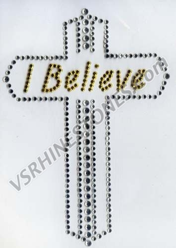 I Believe Cross Rhinestone Transfer