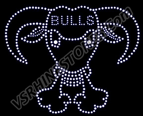 Bulls word and Mascot Rhinestone Transfer
