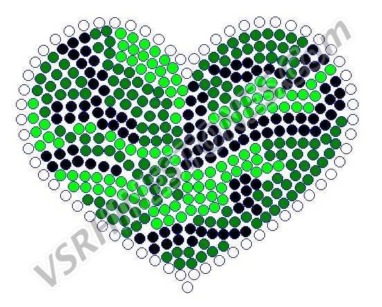 Camo Green Heart Rhinestone Transfer