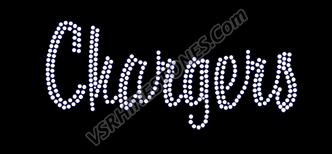 Chargers Script Rhinestone Transfer