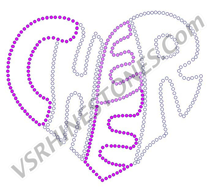 Cheer Heart Rhinestone Transfer