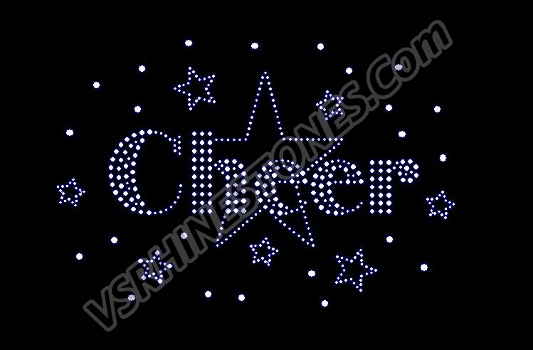 Cheer Stars Rhinestone Transfer