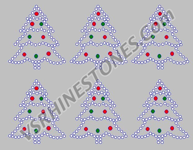 Christmas Tree Mini Rhinestone Transfers (6)