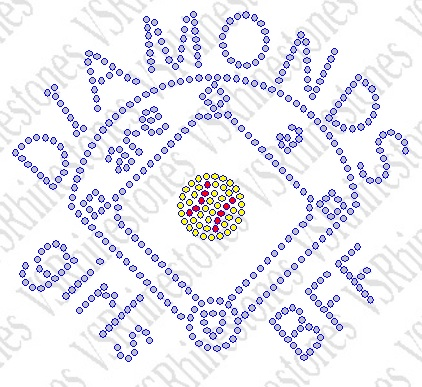 Diamonds Are A Girls BFF - Softball - SMALL Rhinestone Transfer