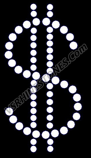 Dollar Sign - Small - Set of 2 Rhinestone Transfer