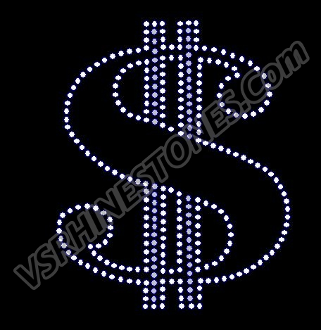 Dollar Sign - Large Rhinestone Transfer