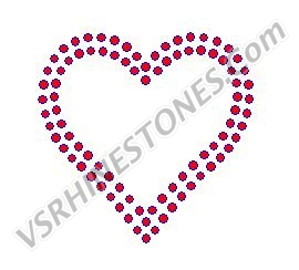 Double Outline Heart - Red Rhinestones - small - Set of 3