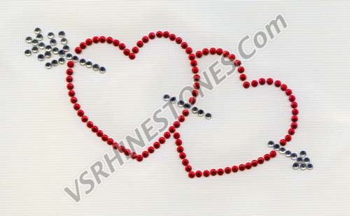 Double Heart - Set of 2 Rhinestone Transfer