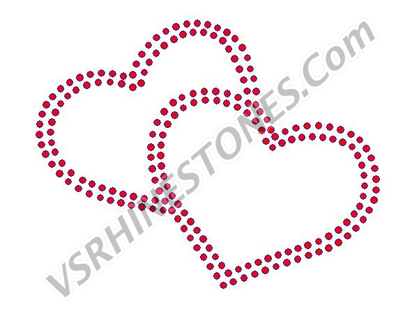 Double Outline Hearts - Red Rhinestones - large