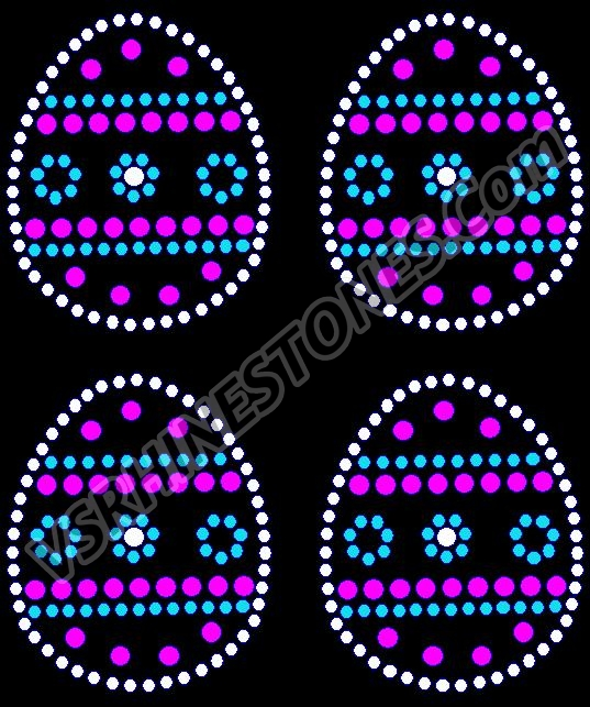 Easter Egg Mini Rhinestone Transfer - Pink/Turq