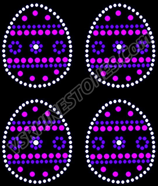 Easter Egg Mini Rhinestone Transfer - Pink/Purple