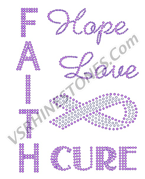 Faith Hope Love Cure Rhinestone Transfer