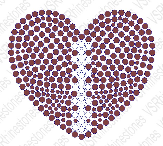 Football Heart Filled Hotfix Rhinestone Transfer