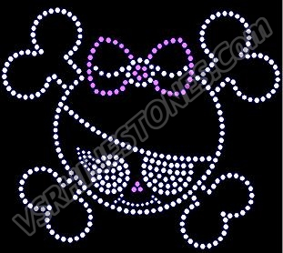 Girly skull with bow and eye patch Rhinestone Transfer