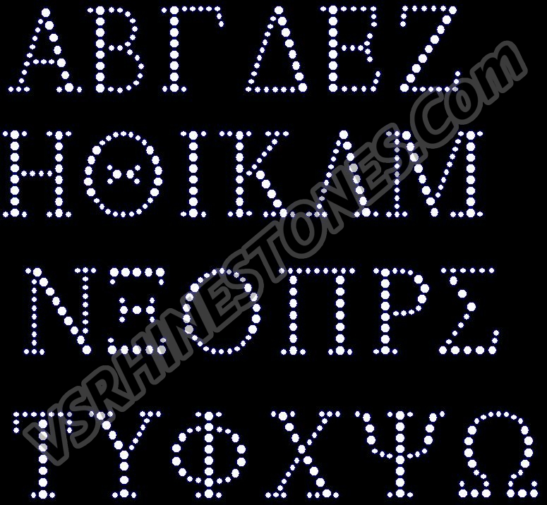 Greak Alphabet Rhinestone Transfer Large