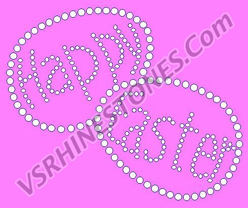 Happy Easter Eggs Rhinestone Transfer