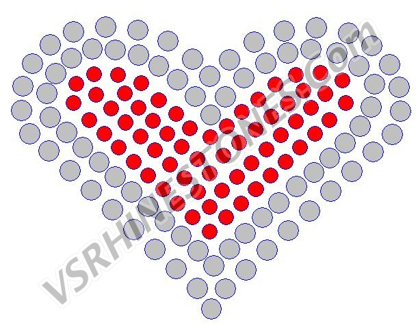 Two Tone Heart - Red - Set of 3 Rhinestone Transfer