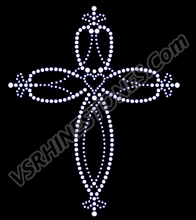 Heart Center Cross Rhinestone Transfer
