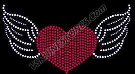 Heart Wings Rhinestone Transfer