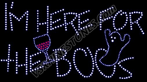I'm here for the boos - martini Rhinestone Transfer