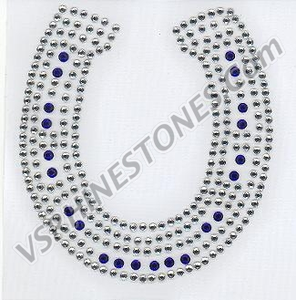 Horseshoe - Clear and Cobalt Blue Rhinestones
