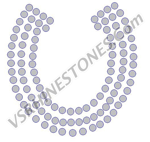 Horseshoe Mini Filled (6) Rhinestone Transfer