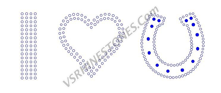I (heart) Horseshoe Rhinestone Transfer