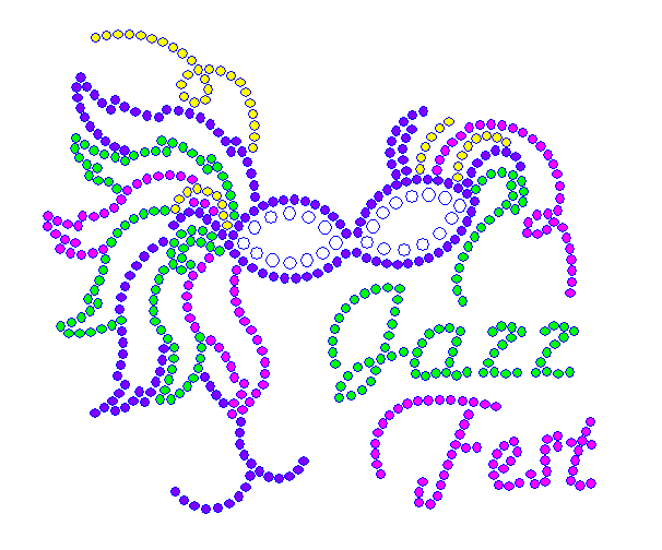 Jazz Fest Feather Mask Rhinestone Transfer