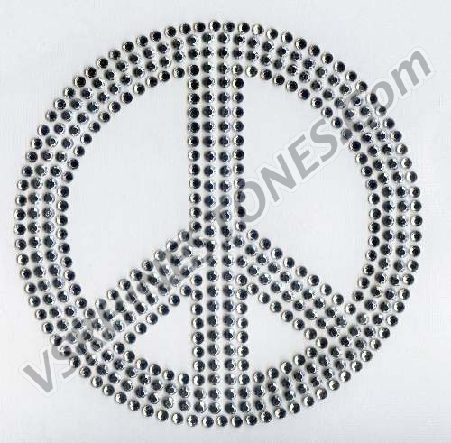 Peace Sign - Medium Rhinestone Transfer