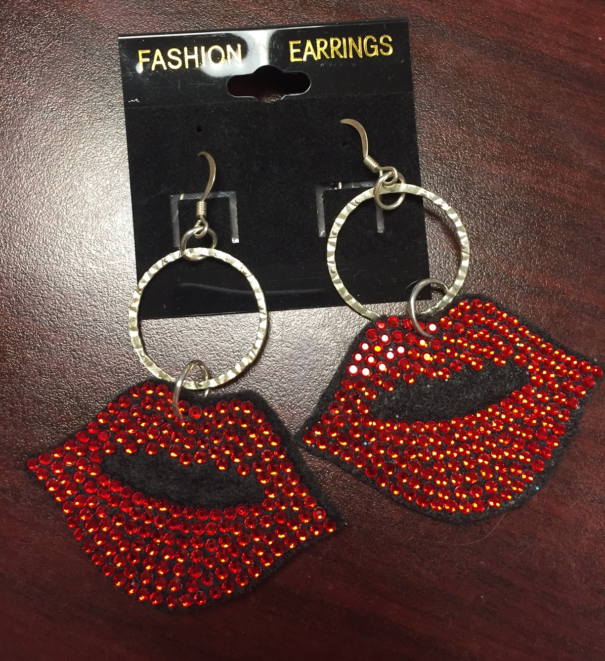 Lips Rhinestone Earrings - SMALL - CLEARANCE