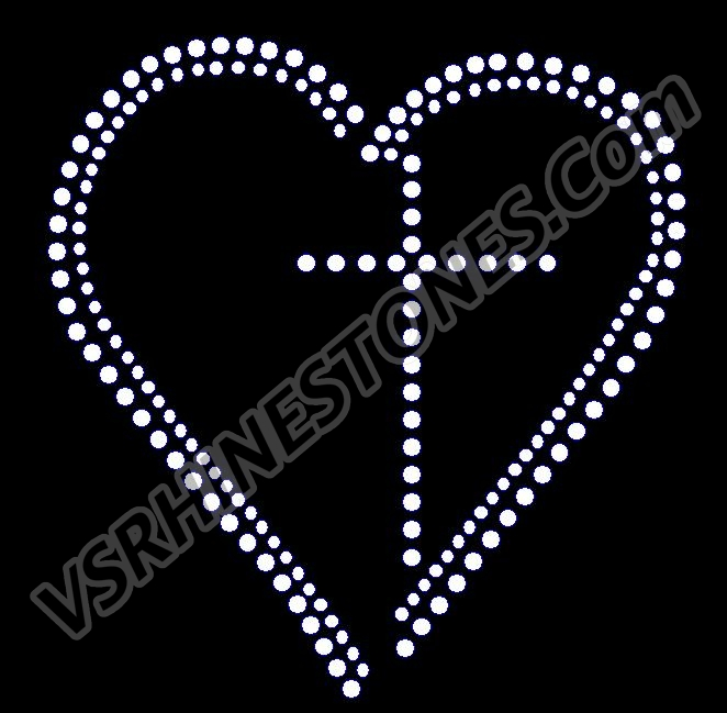 Love Cross Rhinestone Transfer