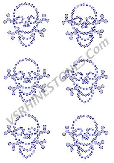 Mini Skull and Crossbones (6) Rhinestone Transfer
